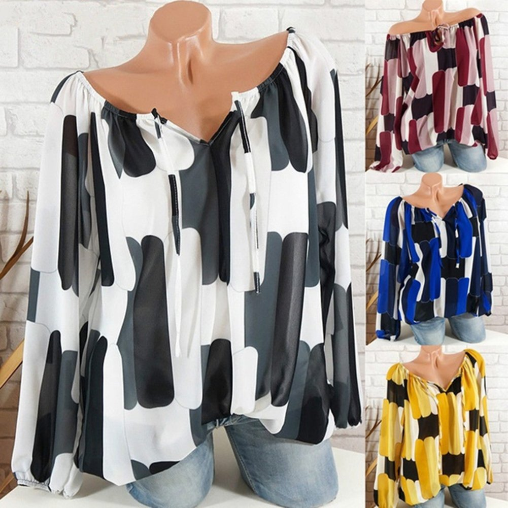 Juleya Mujeres Blusas Casual Off Shoulder Camisetas Manga Larga Tops Pintado Casual Pullover Primavera Verano Camisa Ropa de Calle Sayo Tops S - 5XL: ...