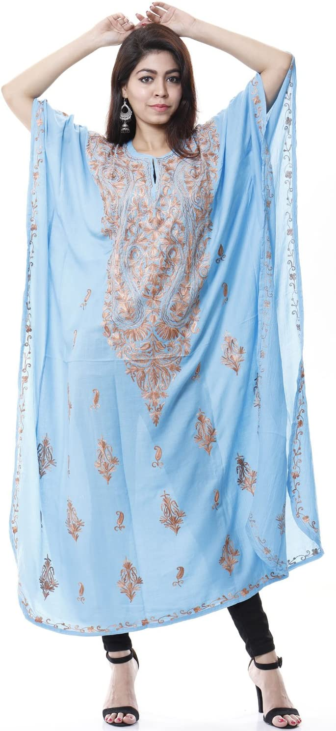 #545 Creativegifts Cotton Kashmiri Kaftan Maxi Dress Beachwear Cover Up Aari Work Paisley Design Fearther Earrings