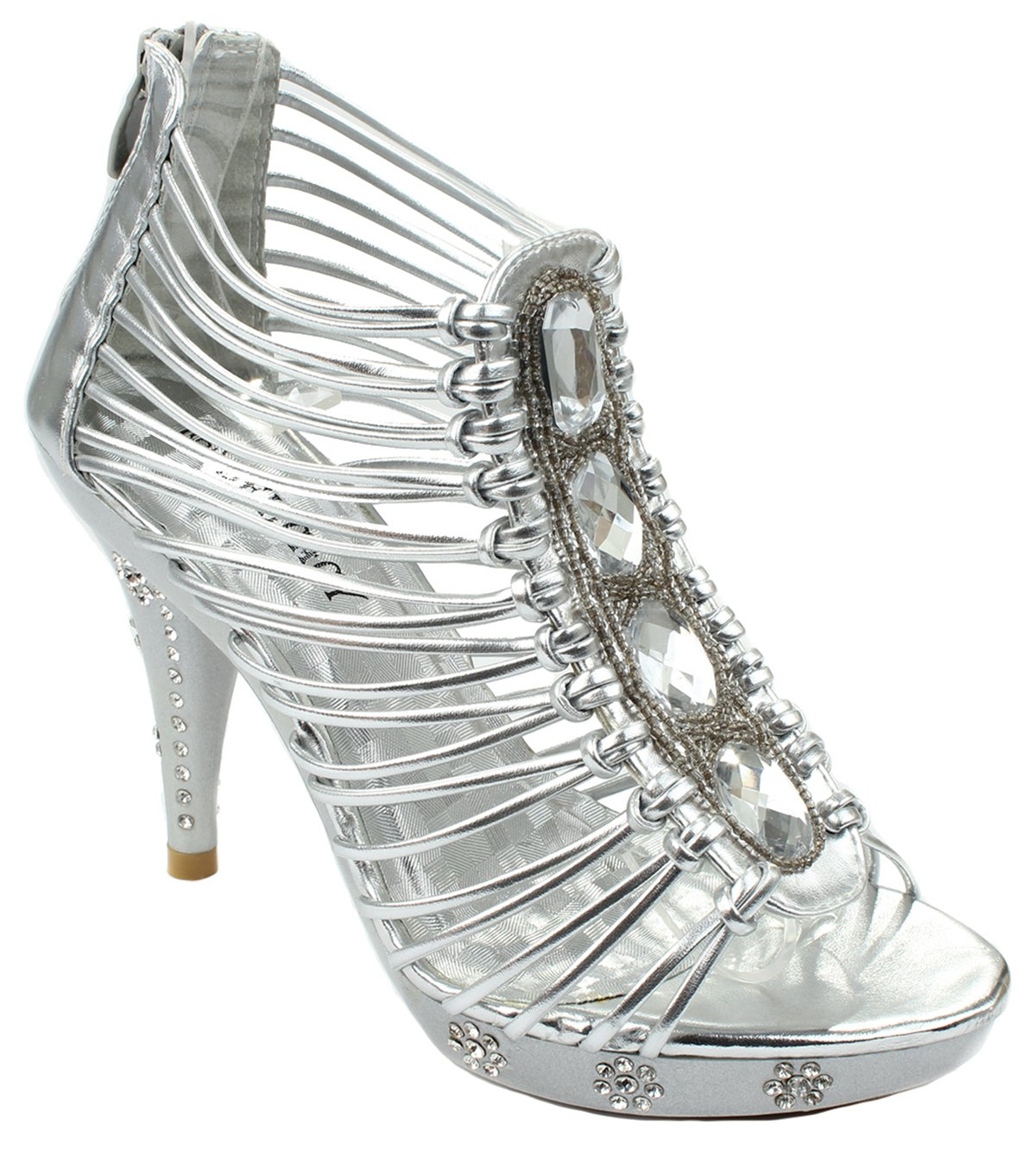 Women Strap Sparkle Rhinestone Strappy Zipper Open Toe Party Evening Dress Heels Sandal Pumps B074HFZ51R 8.5 B(M) US|Silver_t58