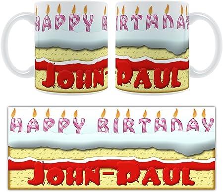 Tremendous Happy Birthday John Paul Birthday Cake Personalised Ceramic Mug Funny Birthday Cards Online Kookostrdamsfinfo