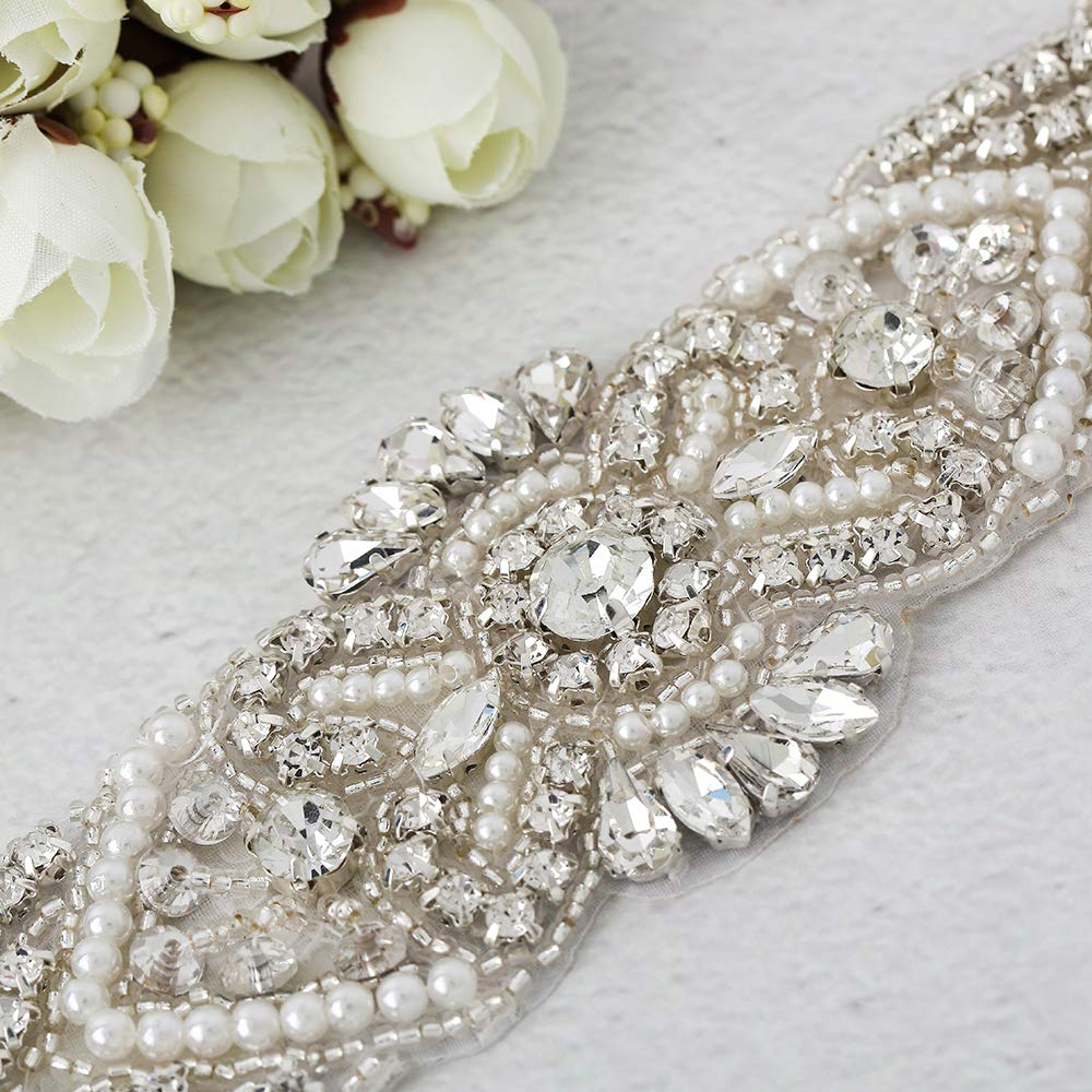 Campsis Womens Exquisite Rhinestone and Bead Bridal Wedding Belts 106 Inches Length Chain for Bridal Gowns and Bridesmaid Waistband.