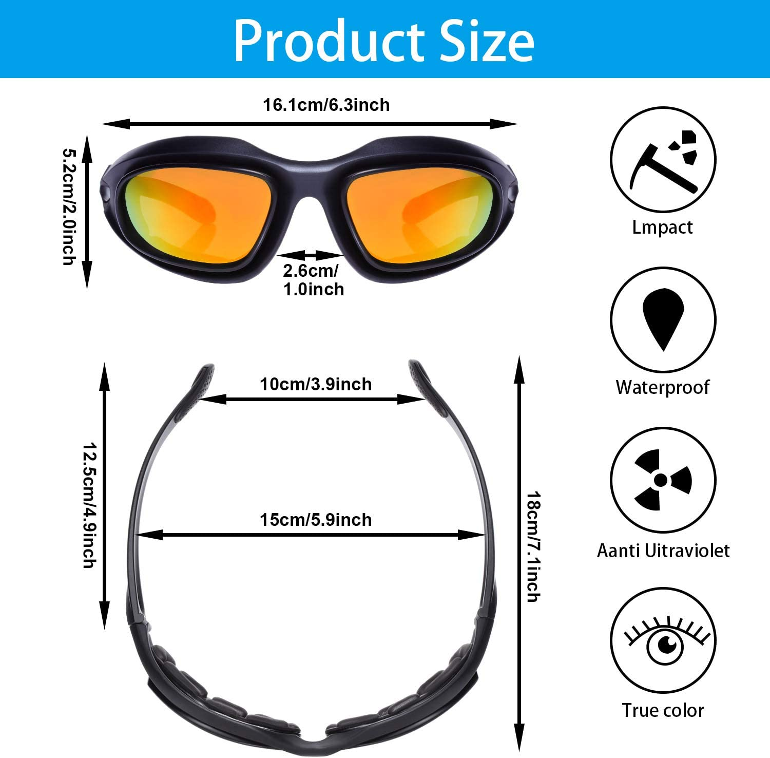 Glasses Case and Cleaning Cloth for Outdoor Activity Sport Pouch Polarized Motorcycle Riding Glasses Padded Glasses Frame Goggle Kit Include 4 Lens Kit Strap