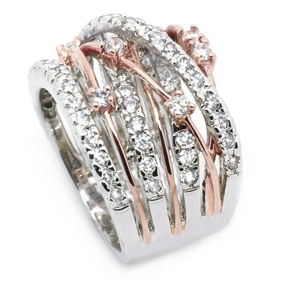 925 Sterling Silver Statement Ring Intertwined Wide Band Crossover Design Crisscross Band Rings for Engagement Party