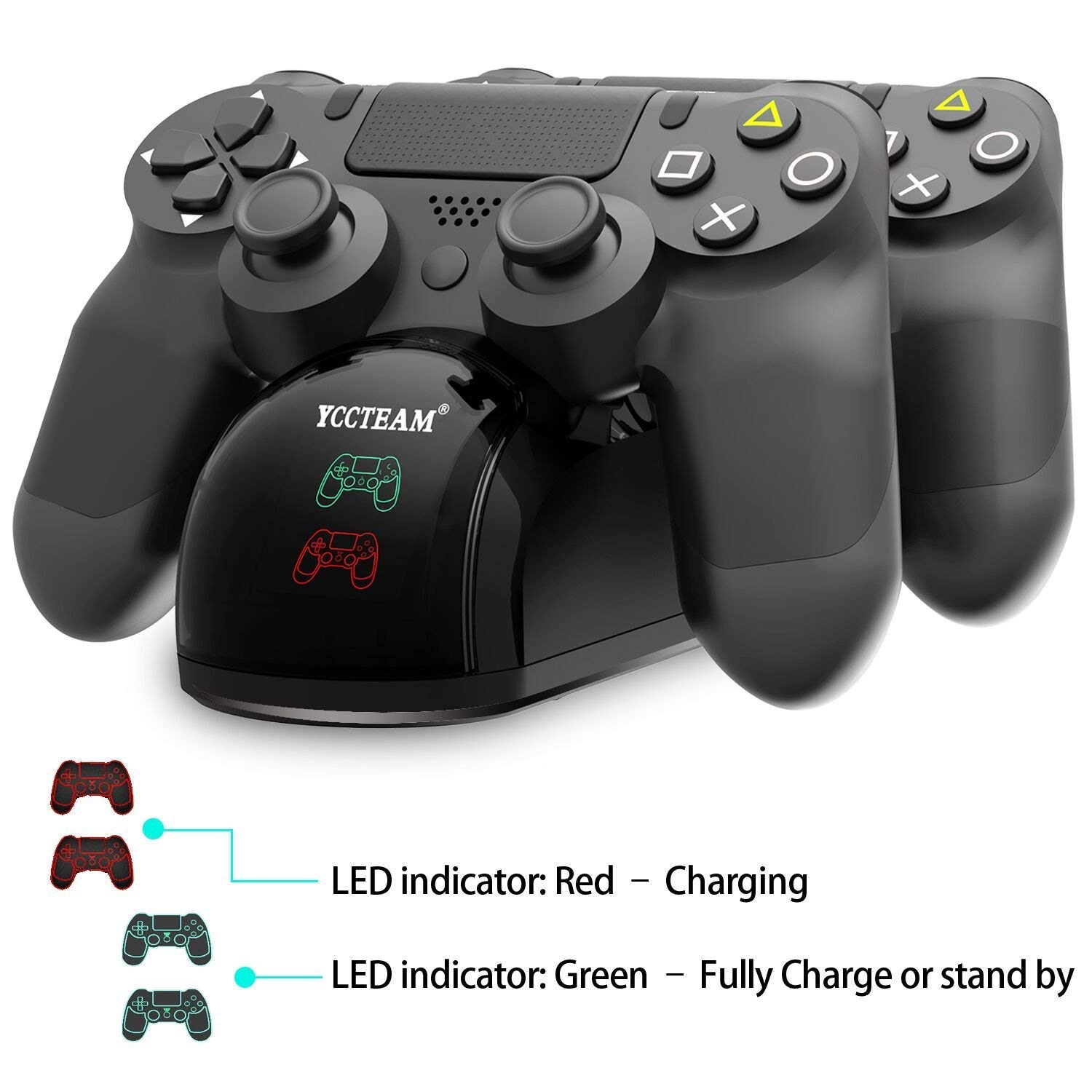 PS4 Controller Charger, Dual USB Fast Charging PS4 Controller Charging Station for Sony Playstation 4/PS4/PS4 Slim/PS4 Pro Controller with 4 Thumb Grips