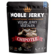 Noble Jerky - Vegan Jerky Chipotle Flavor | Plant Based Vegan Protein Snacks | Meatless, Vegan and Vegetarian Friendly | Smoked Chilli Pepper Seasoning | 100% Free from Beef | Non GMO