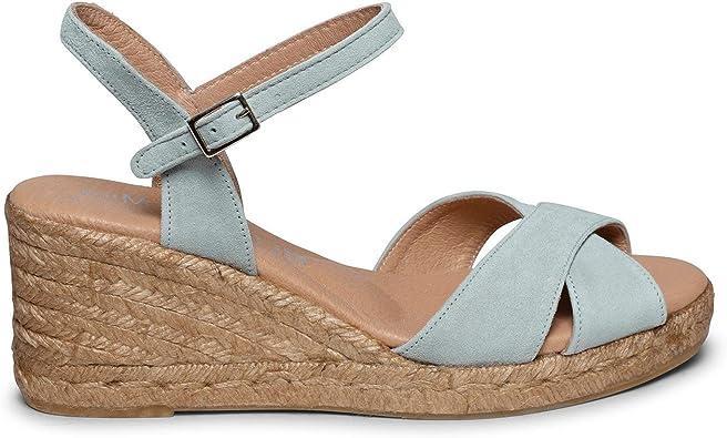 CALPE Cuña de Esparto con Tiras Cruzadas Acero: Amazon.es: Zapatos y complementos