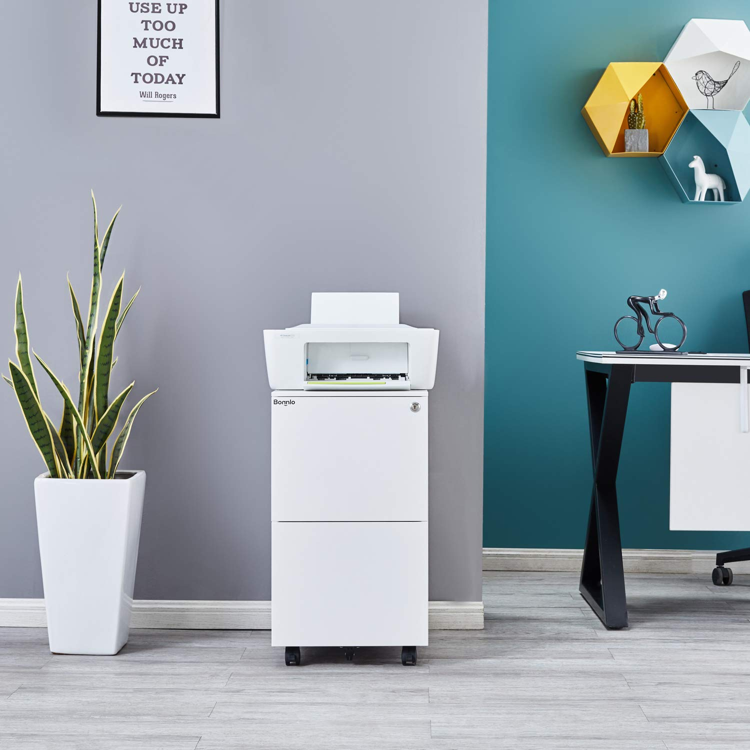 White Bonnlo 2-Drawer Rolling File Cabinet with Lock Metal Office Drawer Cabinet