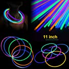 11'' Glow Sticks Necklaces 100 Pack - Light up Toys Glowsticks Bracelets Assorted Colors In The Dark Light Sticks