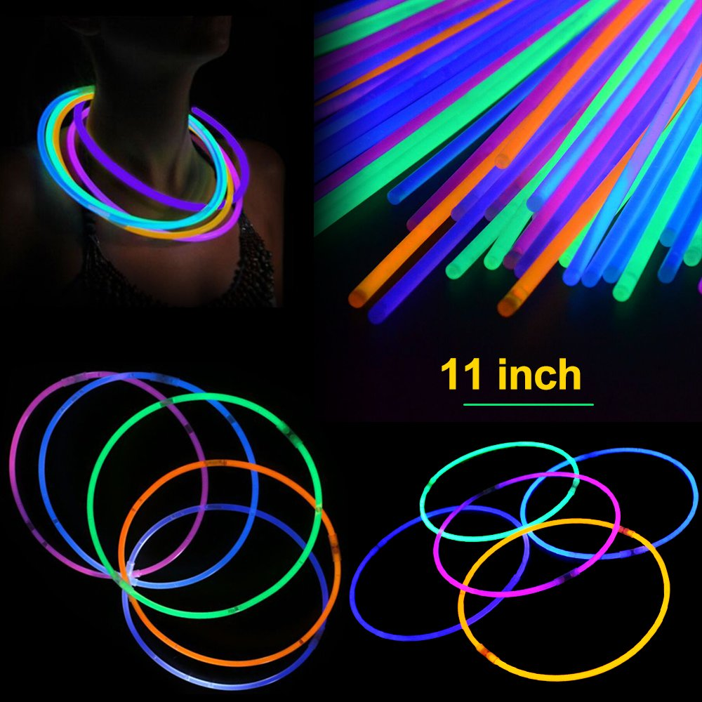 200 Pcs 11'' Glow Sticks Necklaces Pack - Light up Toys Glowsticks Bracelets Assorted Colors In The Dark Light Sticks