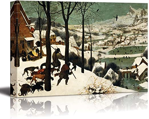 Amazon Com Hunters In The Snow Winter By Pieter Bruegel The Elder Famous Fine Art Reproduction World Famous Painting Replica On Ped Print Wood Framed Canvas Art Wall Art 32 X