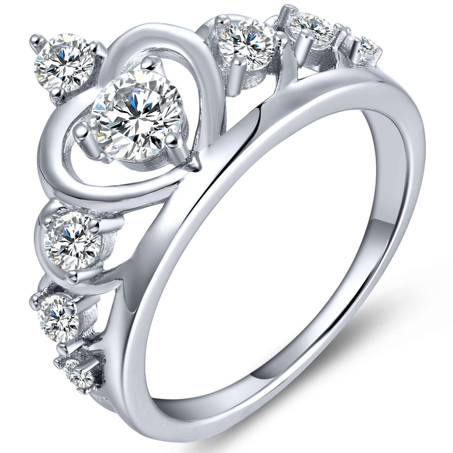 YL Women's Silver Queen Heart Crown Ring Anniversary 925 Sterling Silver Cubic Zirconia-size 7