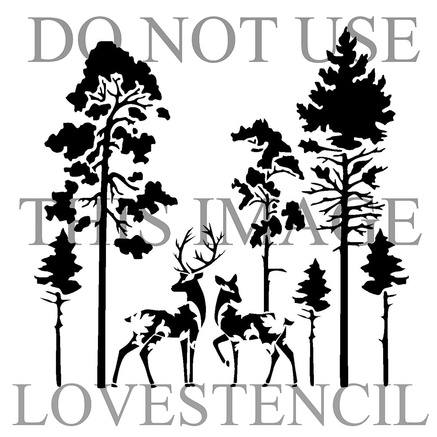 Vintage design deers in forest stencil 1. Choose size and thickness. SMALL