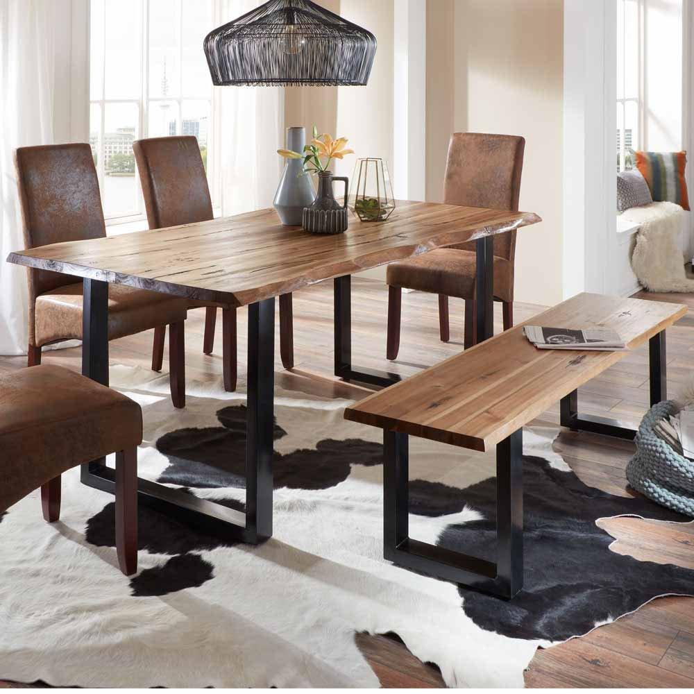 Pharao24 Esszimmer Sitzgruppe mit Baumkantentisch und Bank Loft ...