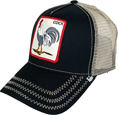 629bc59b837 Goorin Bros Men s Rooster  Cock  Patch Trucker Hat Cap (Black) at ...