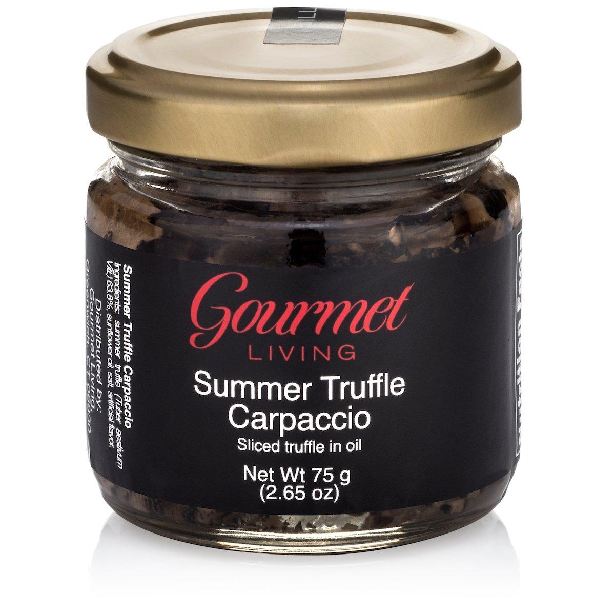 Gourmet Living Summer Truffle Mushroom Carpaccio | Slices of Italian Truffles in Sunflower Oil 2.65oz