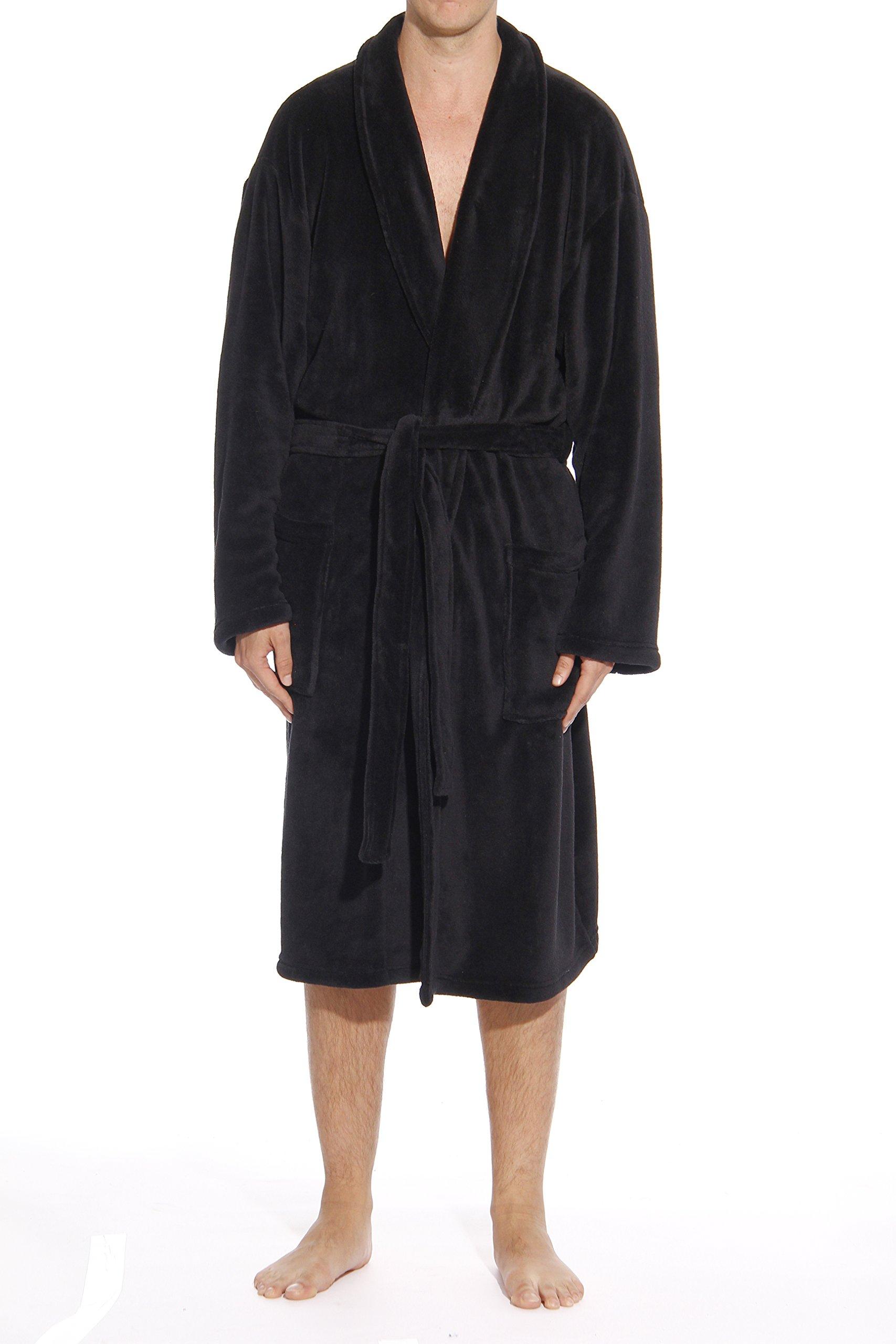 #followme 46902-BLK-M Plush Robe Robes For Men