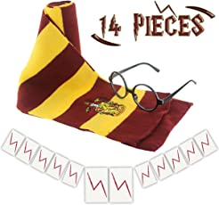 GeeVen Novelty Scarf Wizard Glasses with Round Frame No Lenses 12 PCs Lightning Bolt Tattoos for Kids Halloween Birthday Party Cosplay Costume Accessories
