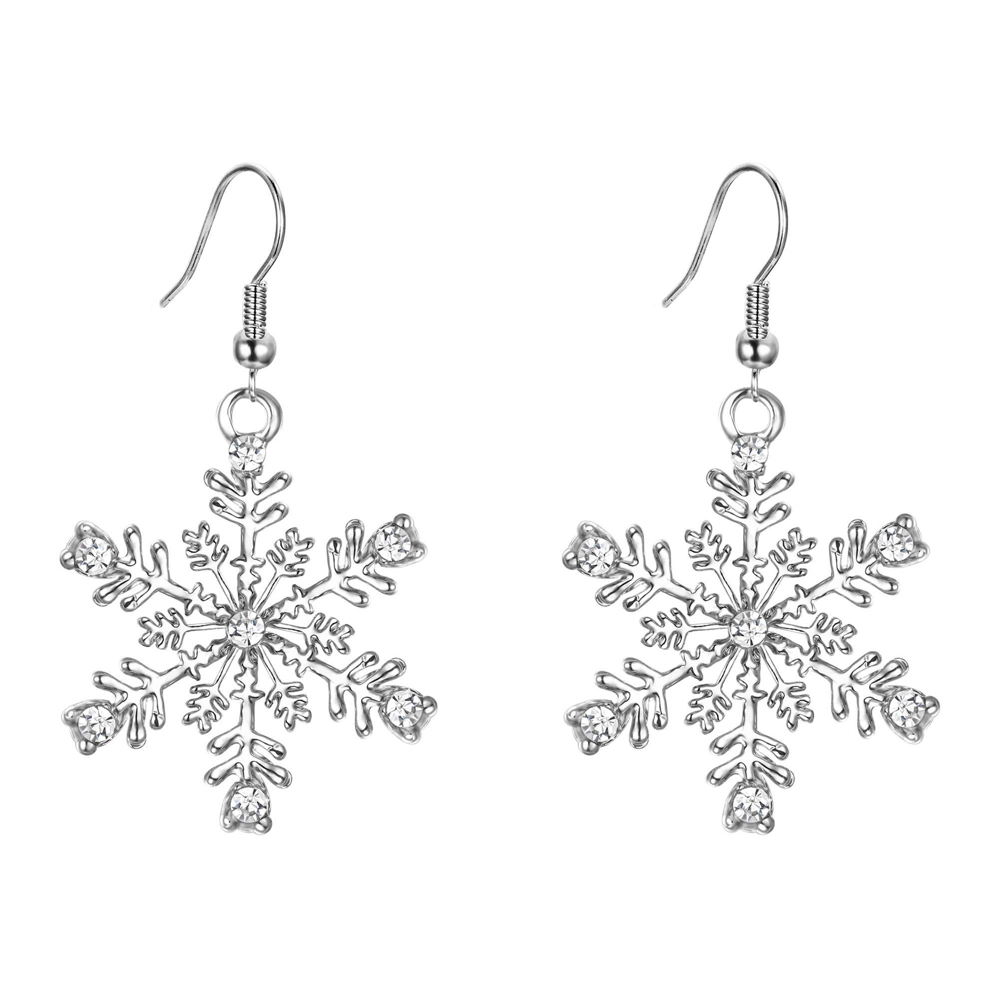 8078e3d2c EVER FAITH Austrian Crystal Winter Party Snowflake Pierced Hook Dangle  Earrings Clear - Christmas Countdown Live