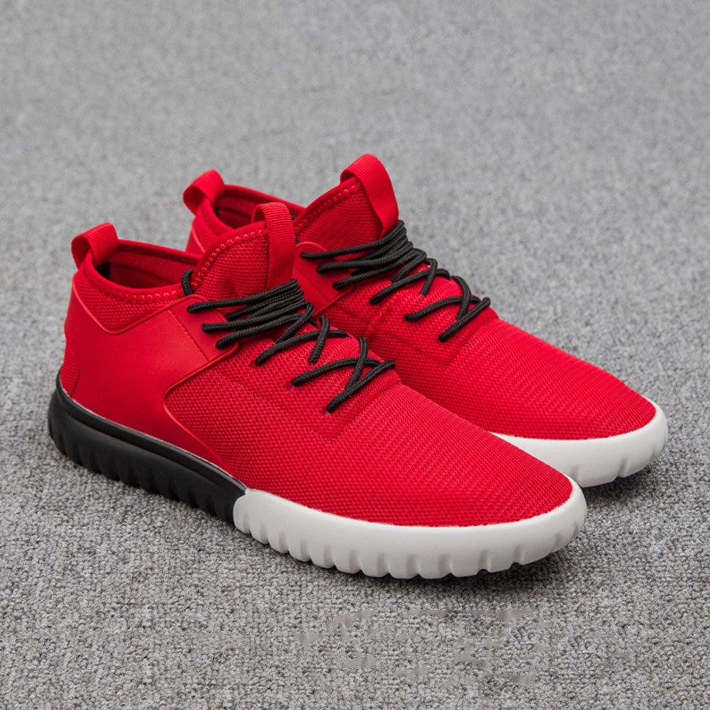 YIXINY Deporte Zapato OL-7391 Zapatos ocasionales Tela de malla + Material de caucho Movimiento masculino Zapatos de cordones transpirables al aire libre Negro, Rojo, Gris Aire Libre y Deporte ( Color : Rojo , Tamaño : EU43/UK9/CN44 ) EU43/UK9/CN44
