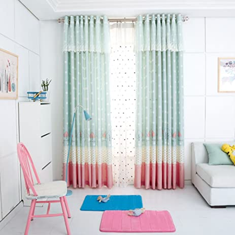 Blackout Lace Window Curtains For Children Room Pink Cartoon Curtain Panels Girl Country Baby Kid