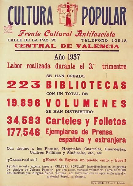Guerra Civil Española Vintage 1936-39 Propaganda CULTURA POPULAR antifascista parto figuras para 1937 250gsm