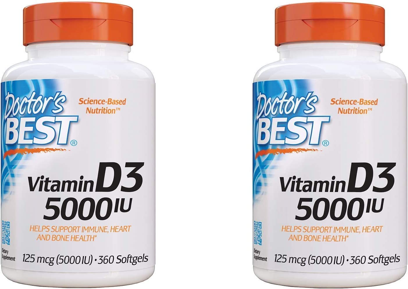 Doctor's Best Vitamin D3 5000IU, Non-GMO, Gluten Free, Soy Free, Regulates Immune Function, Supports Healthy Bones