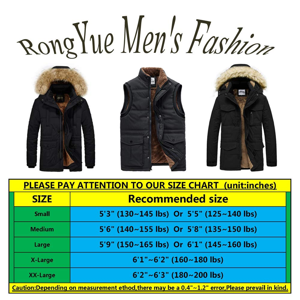 RongYue Mens Winter Thicken Coat Faux Fur Lined Quilted Jacket with Removable Fur Hood