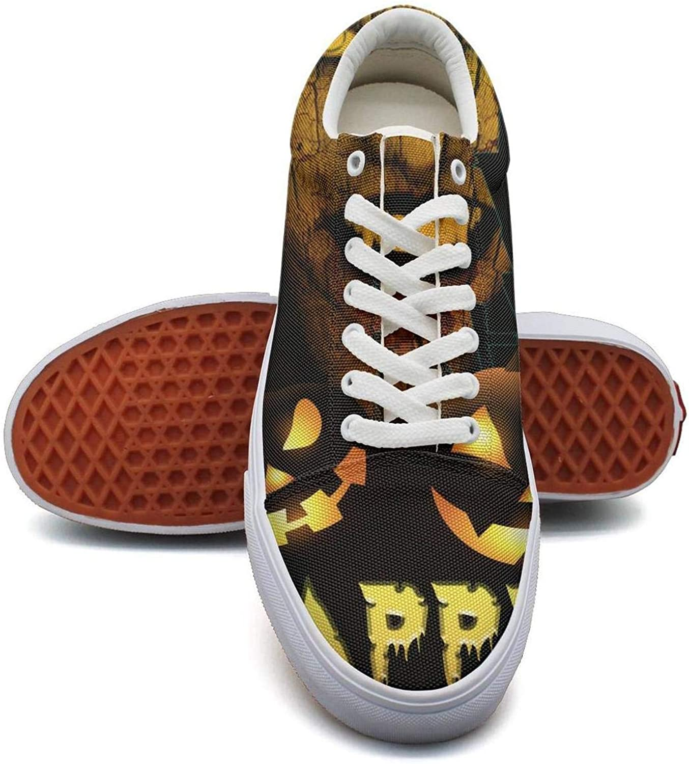 Woman Halloween Trick or Treat Pumpkin Witch Canvas Shoes Low-Cut StrapsFashion Funky Sneakers Suitable for Walking