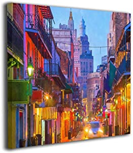 """French Quarter New Orleans Louisiana USA Oil Paintings On Canvas Modern Square Stretched and Framed Artwork Ready to Hang Wall Art for Home Office Wall Decor 20""""x20"""""""
