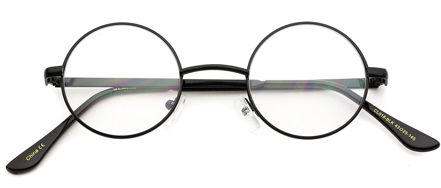 Amazon.com: Round Clear Metal Frame Glasses: Clothing