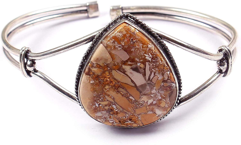 Neerupam Collection Pulsera chapada en Plata Natural con Piedras Preciosas de Jaspe joyería Hecha a Mano para Mujer (BRS-36)
