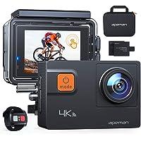 APEMAN Action Cam A80, 4 K 20 MP WiFi, waterdicht, 40 m, digitale camera, transporttas met twee batterijen