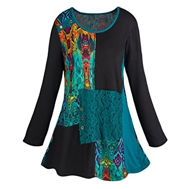 1a01c5709fc Women's Abstract Art Long Sleeve Tunic Top at Amazon Women's ...