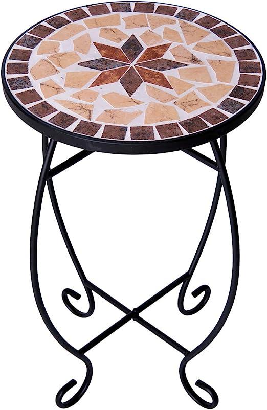 Mesa Auxiliar para terraza Superficie de Mosaico Redonda pequeña Mesa de balcón de Mosaico para Exteriores Mesa de Metal con Mosaico para macetas: Amazon.es: Hogar