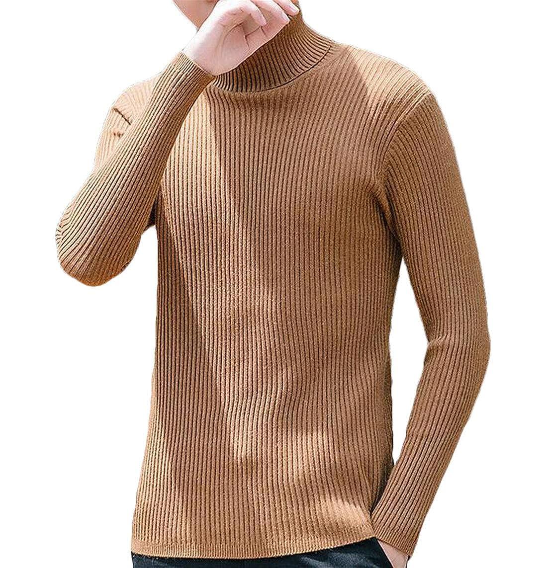 GRMO Men Slim Knit Long Sleeve Turtleneck Pullover Thermal Sweater