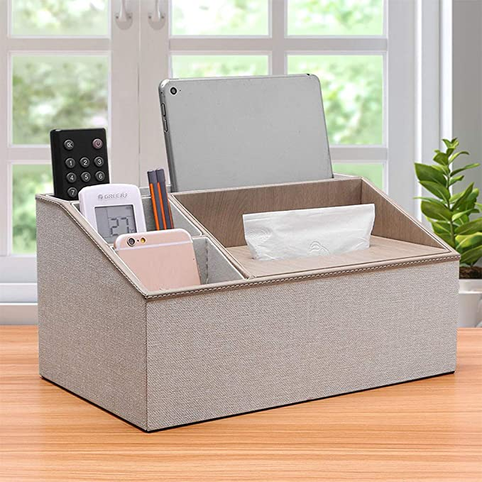 Aoile Multifunction PU Leather Remote Control Tissue Box Cover Holder Desk Storage Box Container for Home and Office Use White Marble