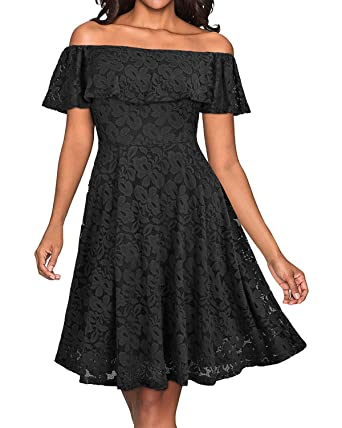 746ce9e94069 Hyling Women's Fall Dresses Bridesmaid Lace Cocktail Party Black Dress  (Black, ...