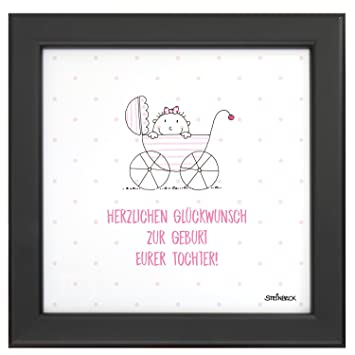 Steinbeck Bild Im Rahmen Baby Mädchen Geburt Tochter