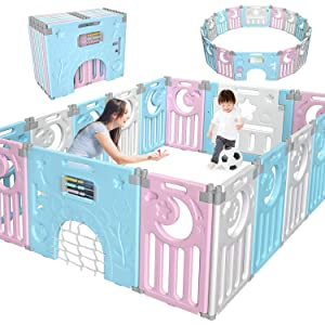 Gimars Upgrade Double Anti-Slip Design Foldable Baby Playpen Fence[16 Panel],Kid Activity Center Safety Play Yard with Gate for Boy Girl Toddler Infant Indoor Outdoor Pink & Blue & White