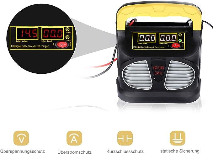 Cenxiny Autobatterie Ladegerät 12v 24v 10a Lcd Display Kfz Batterieladegerät Für Auto Motorrard Boot Mehrfach Schutz 2 Aufladensmodi Auto
