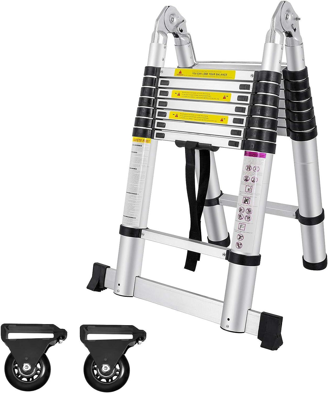 Mehrzweck-Teleskop-Leiter t/äglichen oder Notgebrauch Teleskop-Leiter 12 Stufen f/ür den industriellen Haushalt Aluminium 3,7 m 330 lb gro/ße Tragkraft EN131