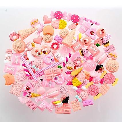 100 Pcs Kawaii Charms Aolvo Resin Flatback Buttons Beads Cute