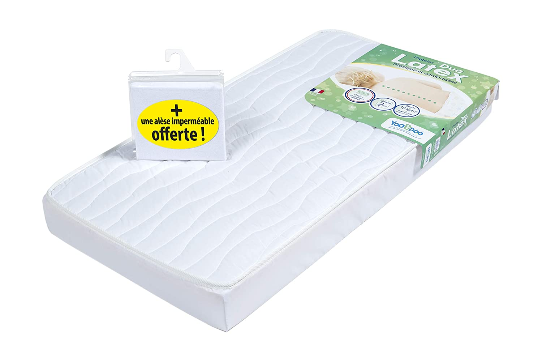 60 x 120 x 12 cm 1 Al/èse imperm/éable OFFERTE Fabrication fran/çaise Respirant Double confort YOOPIDOO Matelas b/éb/é Duo Latex