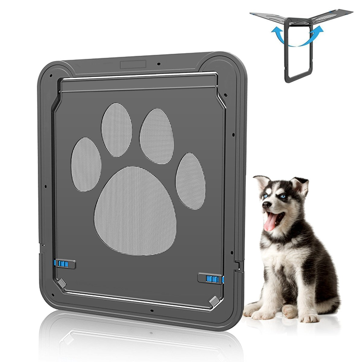 Wrcibo Dog Door for Screen Door, Dog Door Auto Locking Magnetic Cat Door Indoor/Outdoor for Small Medium Large Size Dog Doggie, 12.2''x14.2'' Flap