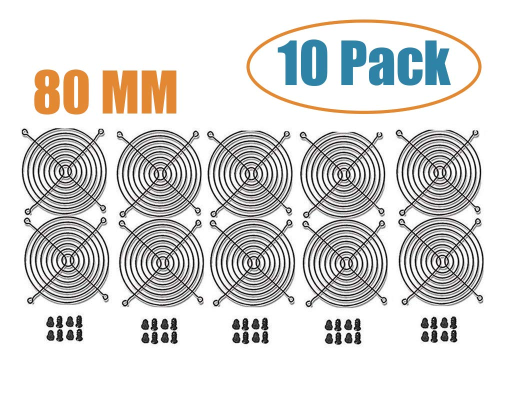 80mm Wire Silver Finger Grills and Fan Grill Guard, Computer Case Cooling Steel Fan Grill with Screws Set of 10 by SSIOIZZ