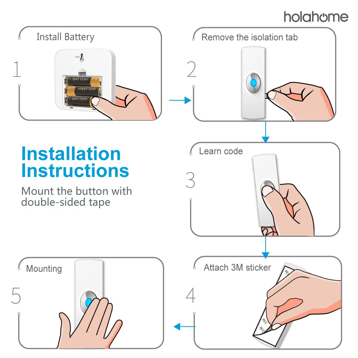 Holahome Wireless Doorbell - Waterproof Portable Door Bell Chime Kit Push Button with 2 Portable Receivers 32 Melodies Wireless Door Alarm Chime Long Range Battery Operated for Home Office White by holahome (Image #9)