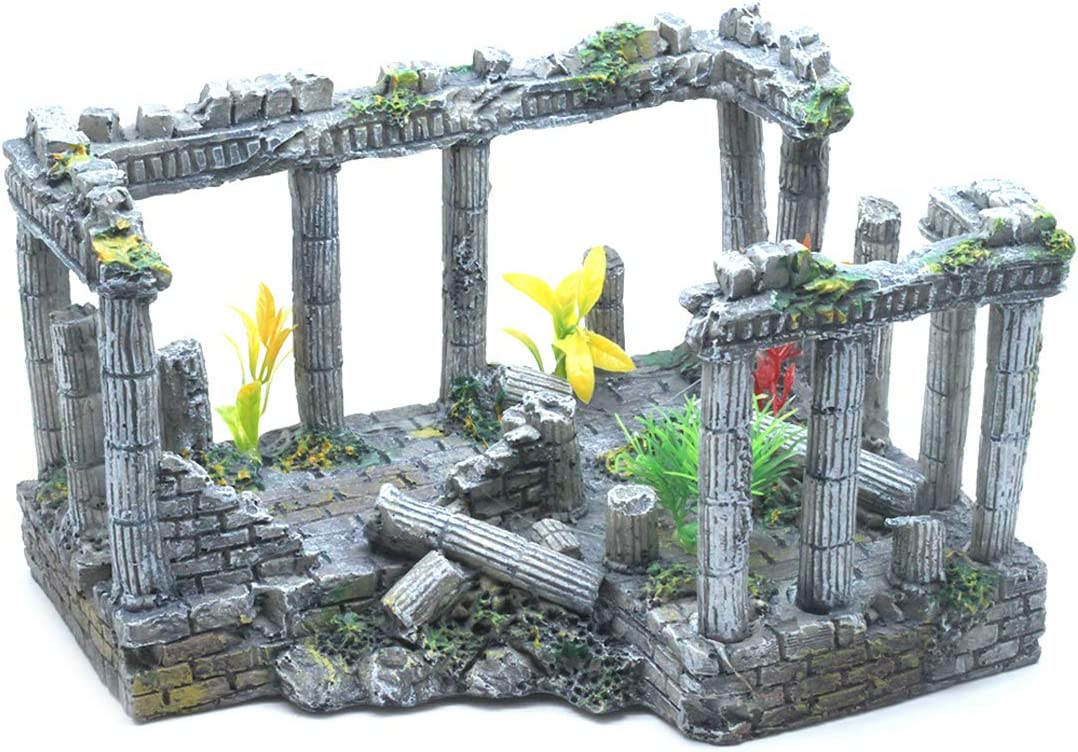 Sscon Aquarium Fish Tank Decoration Simulation Resin Roman Column Rock Ruins Plants Aquarium Decor Ornaments