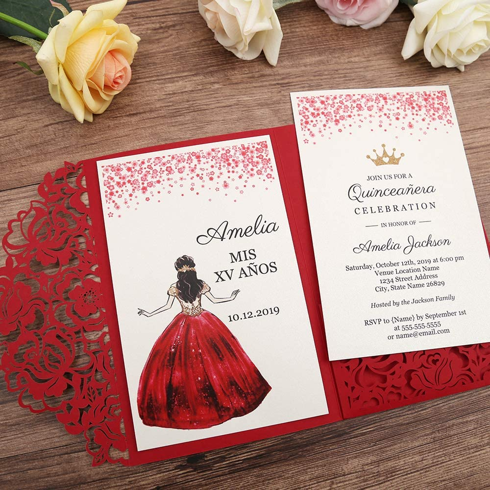 DORISHOME 4.7x7 Inch 25PCS Blank Red Quinceanera Invitations Kit Laser Cut Hollow Rose Pocket Quinceanera Invitation Cards with Envelopes for ...