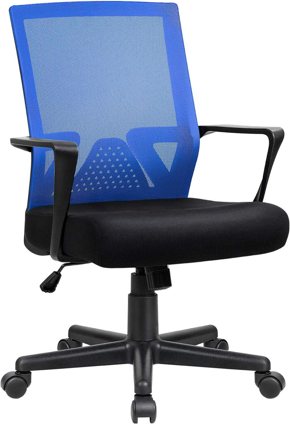 Furniwell Office Chair Ergonomic Desk Chair Mid Back Modern Computer Chair Task Swivel Chair Mesh Adjustable Chair with Lumbar Support Armrest (Blue)
