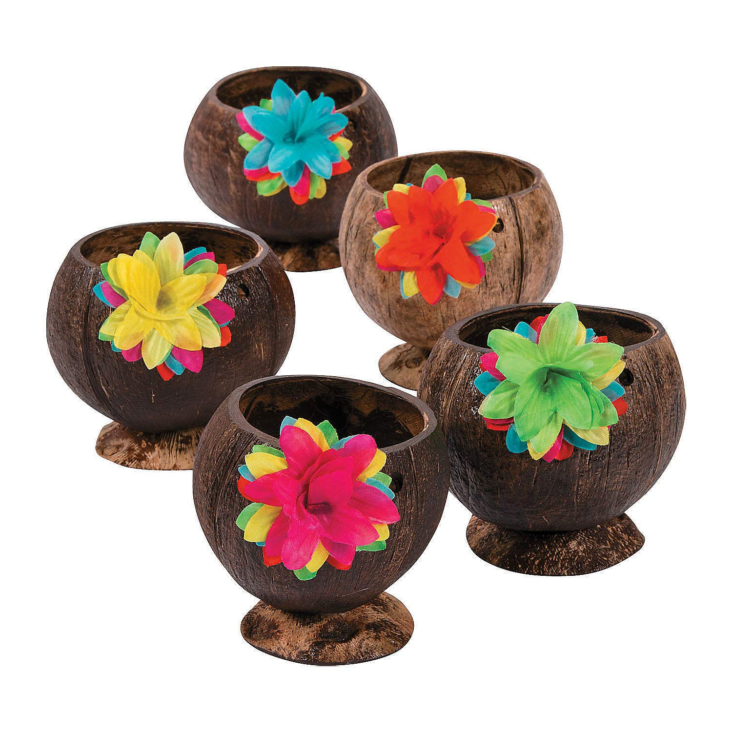 Coconut Cup with Flowers (set of 12) Luau and Tiki Party Supplies by Fun Express